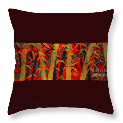 Bamboo Throw Pillow featuring the painting Golden Bamboo by Mark Beach