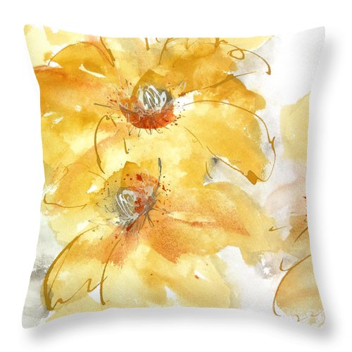 Original Watercolors Throw Pillow featuring the painting Golden Clematis 1 by Chris Paschke