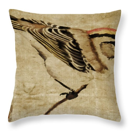 Bird Throw Pillow featuring the mixed media Golden-crowned Kinglet by Carol Leigh