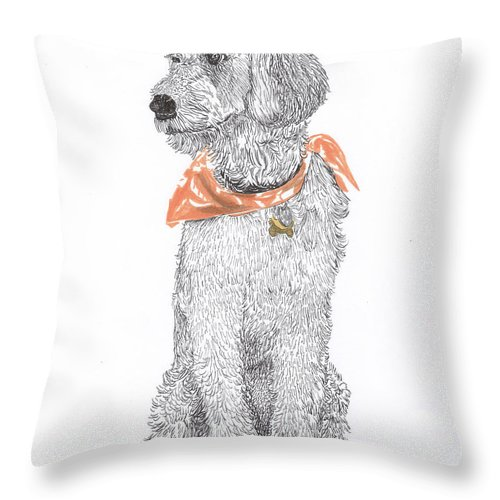 Poodle Doodle Doggy Throw Pillow featuring the drawing Trash Talking Golden Doodle by Jack Pumphrey