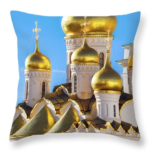 Annunciation Throw Pillow featuring the photograph Golden Domes Of The Russian Church by Mordolff