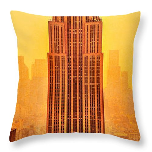Empire State Building Throw Pillow featuring the photograph Golden Empire State by Az Jackson