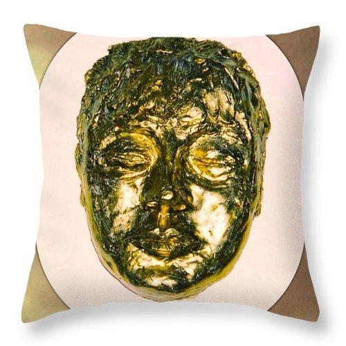Golden Throw Pillow featuring the sculpture Golden Face From Degas Dancer by Joan-Violet Stretch