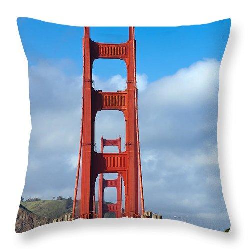 3scape Throw Pillow featuring the photograph Golden Gate Bridge by Adam Romanowicz