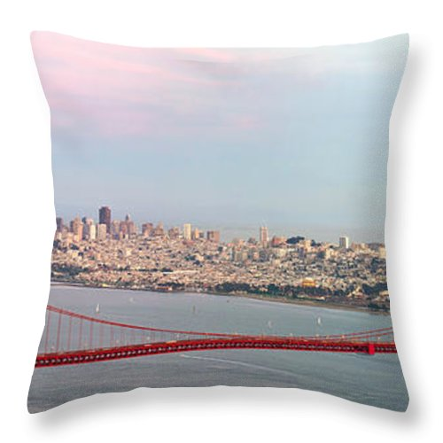 Golden Throw Pillow featuring the photograph Golden Gate Bridge And San Francisco Skyline by Jit Lim