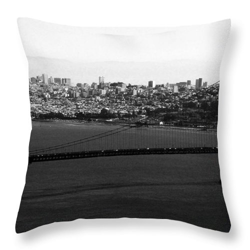 Golden Gate Bridge Throw Pillow featuring the photograph Golden Gate Bridge In Black And White by Linda Woods