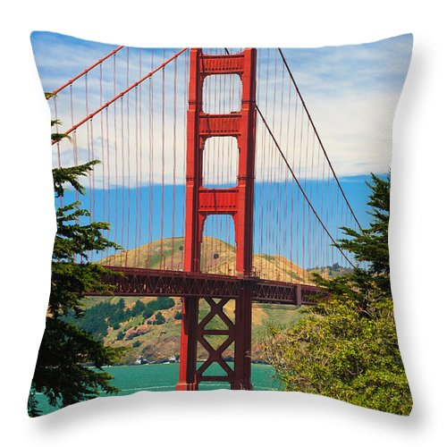 Architecture Throw Pillow featuring the photograph Golden Gate Bridge by Raul Rodriguez