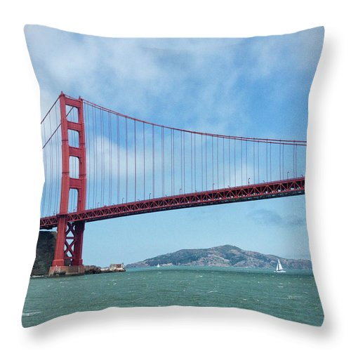 Sailboat Throw Pillow featuring the photograph Golden Gate Bridge, San Francisco by Elisabeth Pollaert Smith