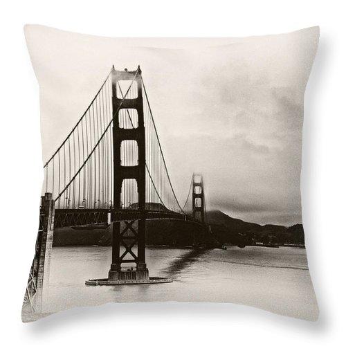 Golden Gate Throw Pillow featuring the photograph Golden Gate Bridge by Tomasz Dziubinski