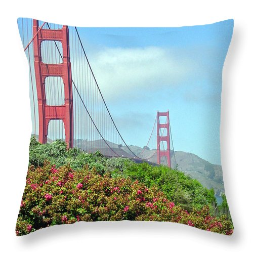 Golden Gate Bridge Throw Pillow featuring the photograph Golden Gate by Suzanne Gaff