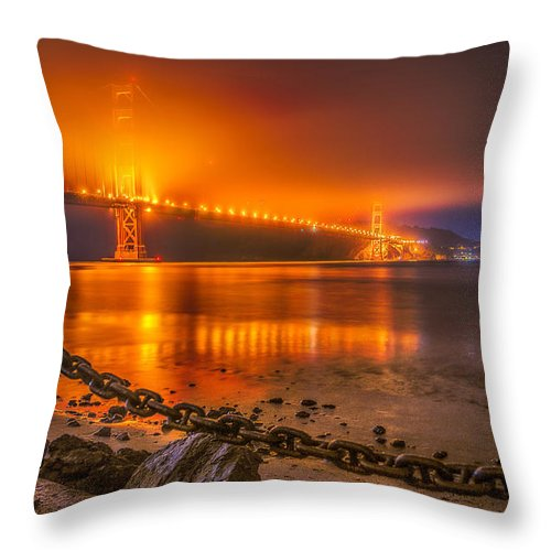 Goldengatebridge Throw Pillow featuring the digital art Golden Golden Gate Bridge by Michael Filippoff