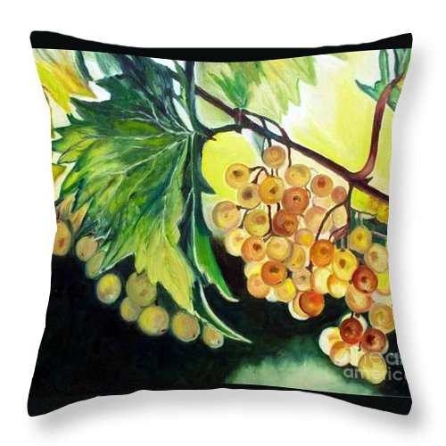 Grapes Throw Pillow featuring the painting Golden Grapes by Julie Brugh Riffey