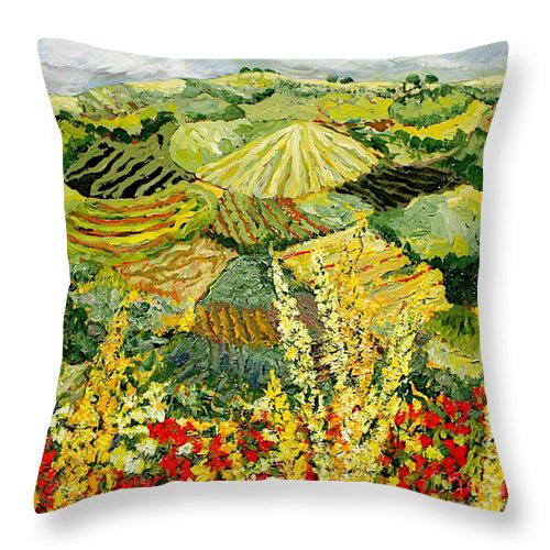 Landscape Throw Pillow featuring the painting Golden Hedge by Allan P Friedlander