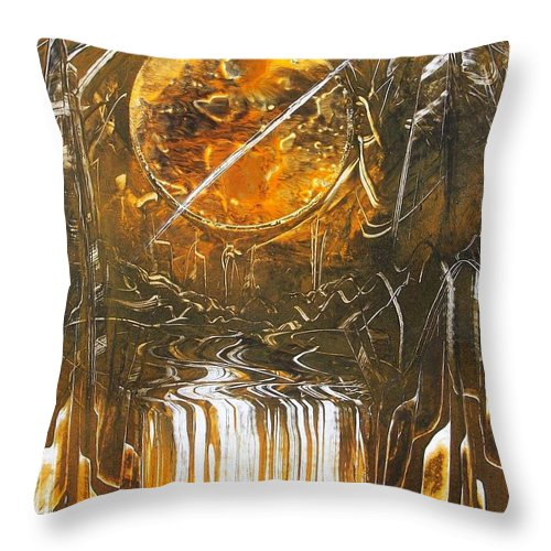 Planet Throw Pillow featuring the painting Golden by Jason Girard