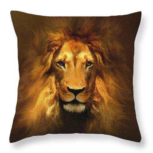 Lion Throw Pillow featuring the painting Golden King Lion by Robert Foster