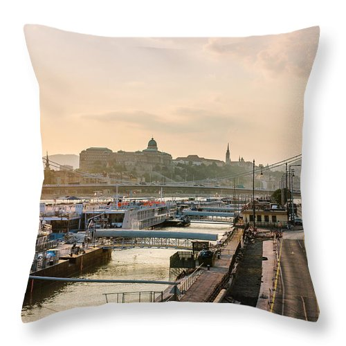 Orange Throw Pillow featuring the photograph Golden Lights by Pati Photography