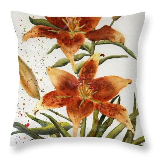 Lilies Throw Pillow featuring the painting Golden Lilies by Patricia Novack