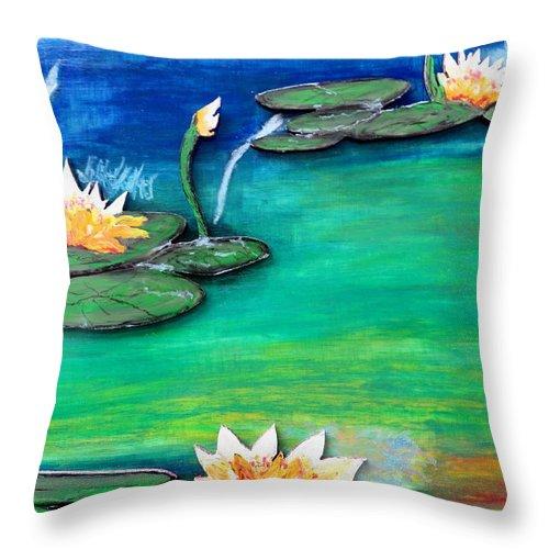 Water Shadow Sun Still Pond Flowers Lillies Pads Color Blue Water Light Dark Nature Series Throw Pillow featuring the pastel Golden Lillies by Daniel Dubinsky
