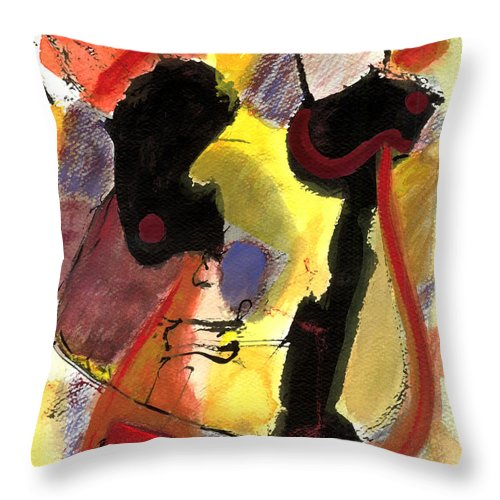 Abstract Art Throw Pillow featuring the painting Golden Moon 2 by Stephen Lucas
