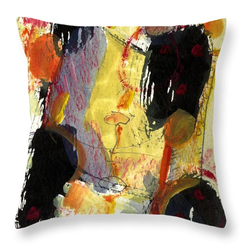 Abstract Art Throw Pillow featuring the painting Golden Moon by Stephen Lucas