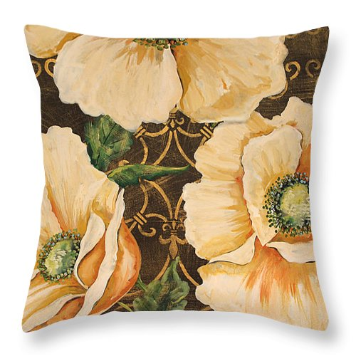Acrylic Painting Throw Pillow featuring the painting Golden Poppies by Jean Plout