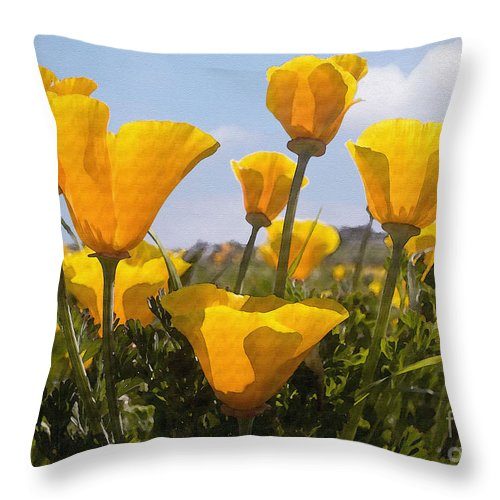 Poppy Throw Pillow featuring the photograph Golden Poppies by Sharon Foster