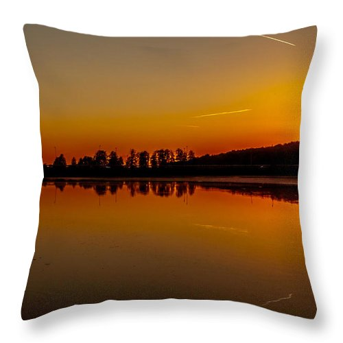Sundown Throw Pillow featuring the photograph Golden Reflections On Sunset by Julis Simo
