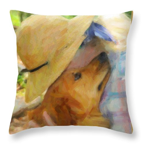 Kenny Francis Throw Pillow featuring the photograph Golden Retriever- A Loving Heart by Kenny Francis