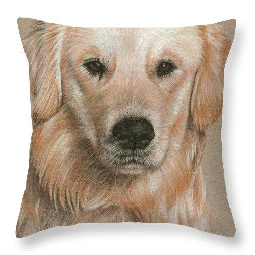 Dog Throw Pillow featuring the pastel Golden Retriever Portrait by Nicole Zeug