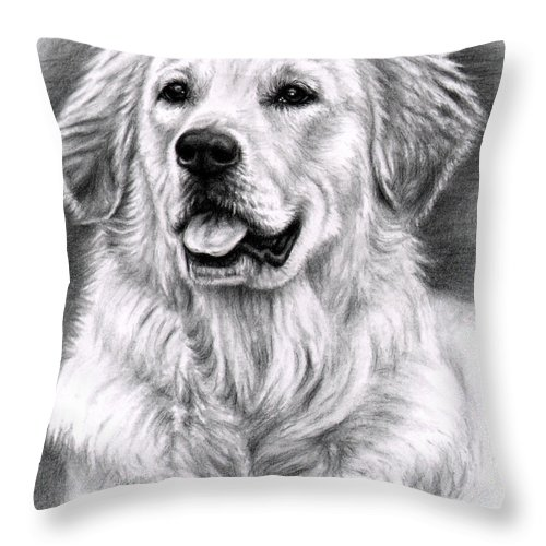 Dog Throw Pillow featuring the drawing Golden Retriever Spence by Nicole Zeug