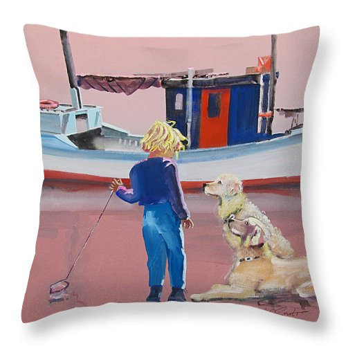 Retriever Throw Pillow featuring the painting Golden Retrievers by Charles Stuart