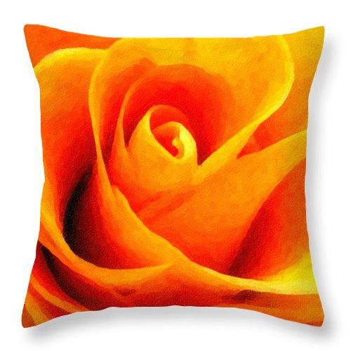 Flower Throw Pillow featuring the photograph Golden Rose - Digital Painting Effect by Rhonda Barrett