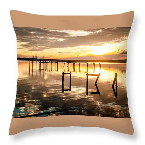 Florida Throw Pillow featuring the photograph Golden Skies by Jon Cody