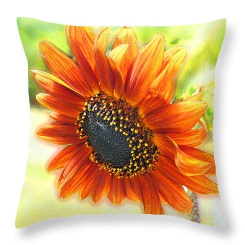 Amber Throw Pillow featuring the digital art Golden Sunflower by Lizi Beard-Ward