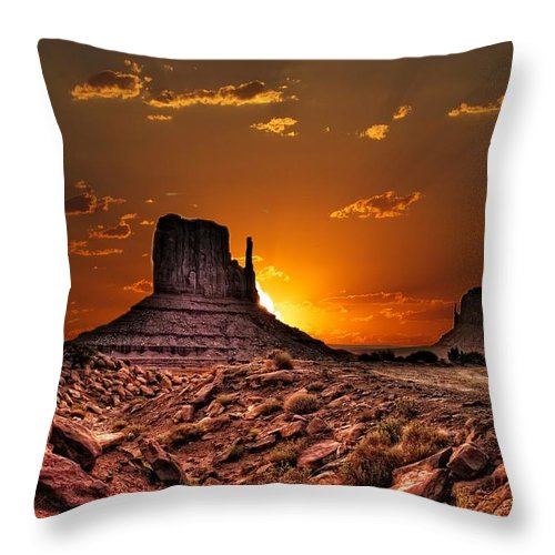 Sunrise Throw Pillow featuring the photograph Golden Sunrise by Fred Hahn