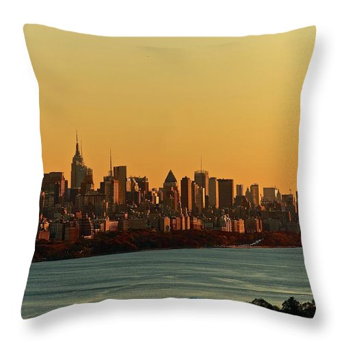 Tranquility Throw Pillow featuring the photograph Golden Sunset On Nyc Skyline by Robert D. Barnes