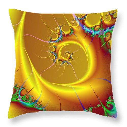 Wave Digital Art Throw Pillow featuring the digital art Golden Wave by Ester Rogers