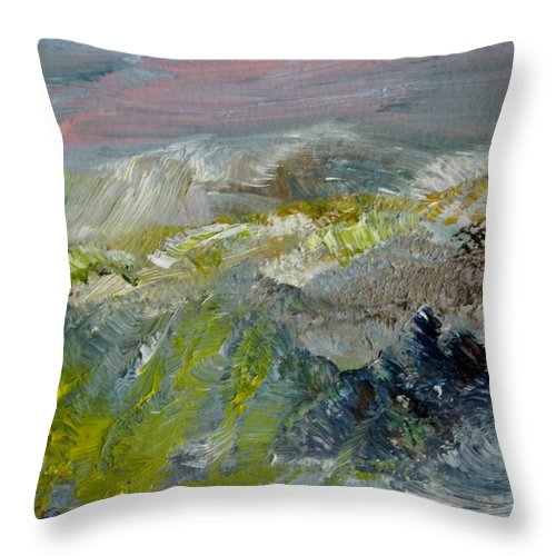 Mountain Throw Pillow featuring the painting Golden Weave In Weeds by Edward Wolverton