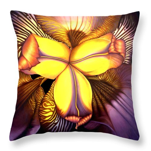 Flower Print Throw Pillow featuring the painting Goldie's Iris by Anni Adkins
