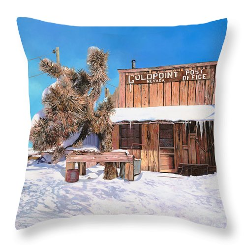 Gold Throw Pillow featuring the painting Goldpoint-nevada by Guido Borelli