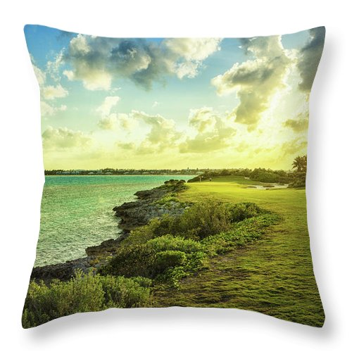 Scenics Throw Pillow featuring the photograph Golf Course by Chang