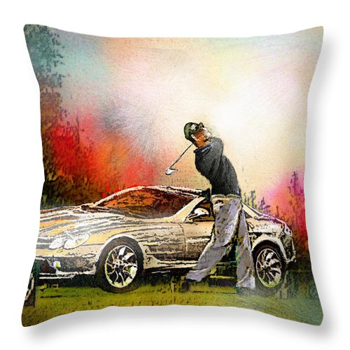Golf Throw Pillow featuring the painting Golf In Gut Laerchehof Germany 03 by Miki De Goodaboom