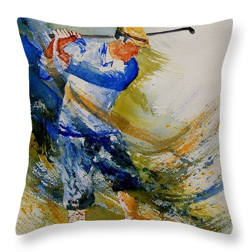 Golf Throw Pillow featuring the painting Golf Player by Pol Ledent