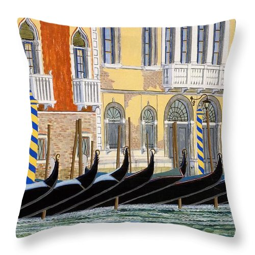 Landscape Throw Pillow featuring the painting Gondolas On The Grand Canal by David Hinchen