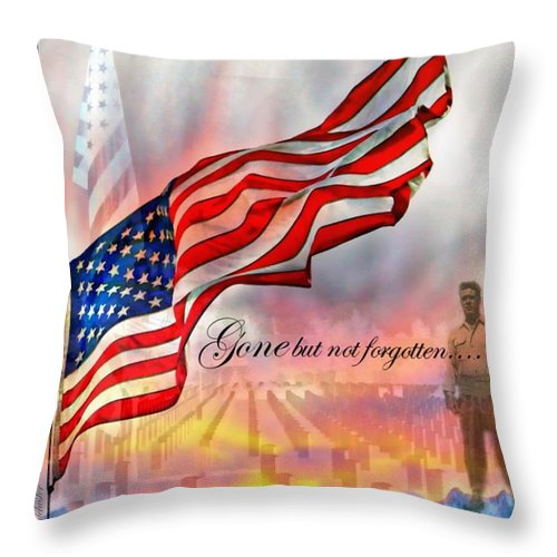 Flag Throw Pillow featuring the photograph Gone But Not Forgotten Military Memorial by Barbara Chichester