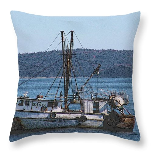 Tugboats Throw Pillow featuring the photograph Gone Fishing by G Berry