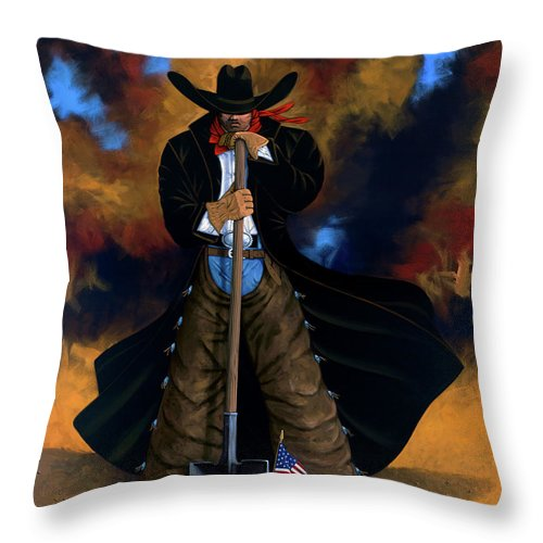 Cowgirl Throw Pillow featuring the painting Gone Too Soon by Lance Headlee