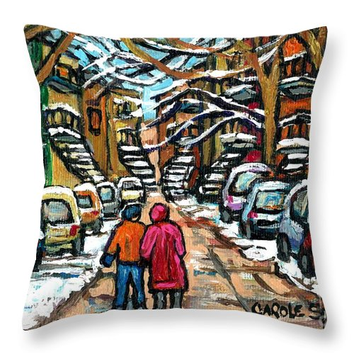 Montreal Throw Pillow featuring the painting Good Day In January For Winter Stroll Snowy Trees And Cars Verdun Street Scene Painting Montreal Art by Carole Spandau
