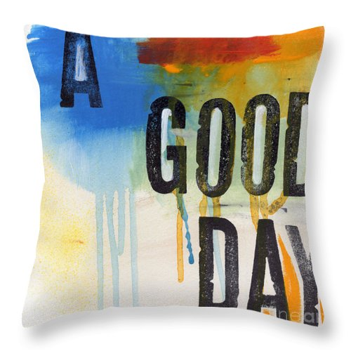 Abstract Throw Pillow featuring the mixed media Good Day by Linda Woods