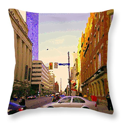 Toronto Throw Pillow featuring the painting Good Morning Drive By Yonge St Starbucks Toronto City Scape Paintings Canadian Urban Art C Spandau by Carole Spandau